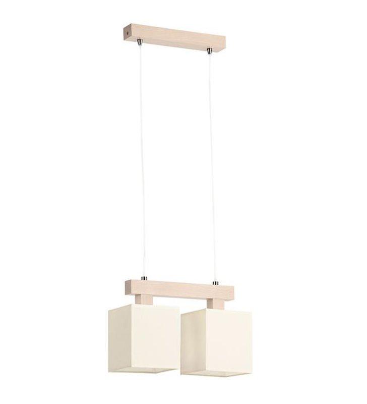 Podwójna jasna lampa wisząca z drewnem Ewa Biała - DOSTĘPNA OD RĘKI