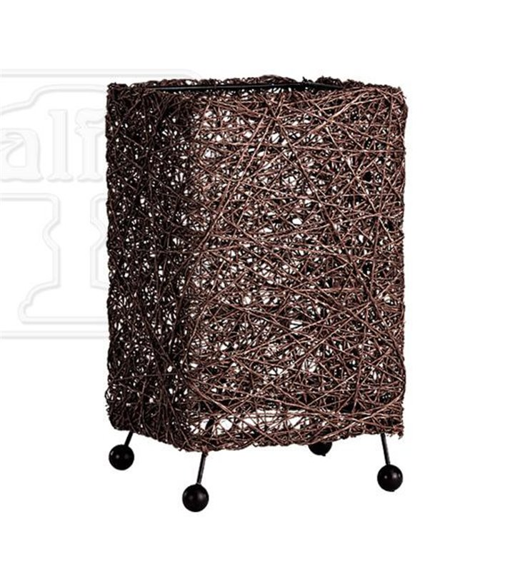 Lampa stołowa Abaka ciemno brązowa prostokątna na stół komodę stolik nocny do sypialni salonu przedpokoju - DOSTĘPNA OD RĘKI