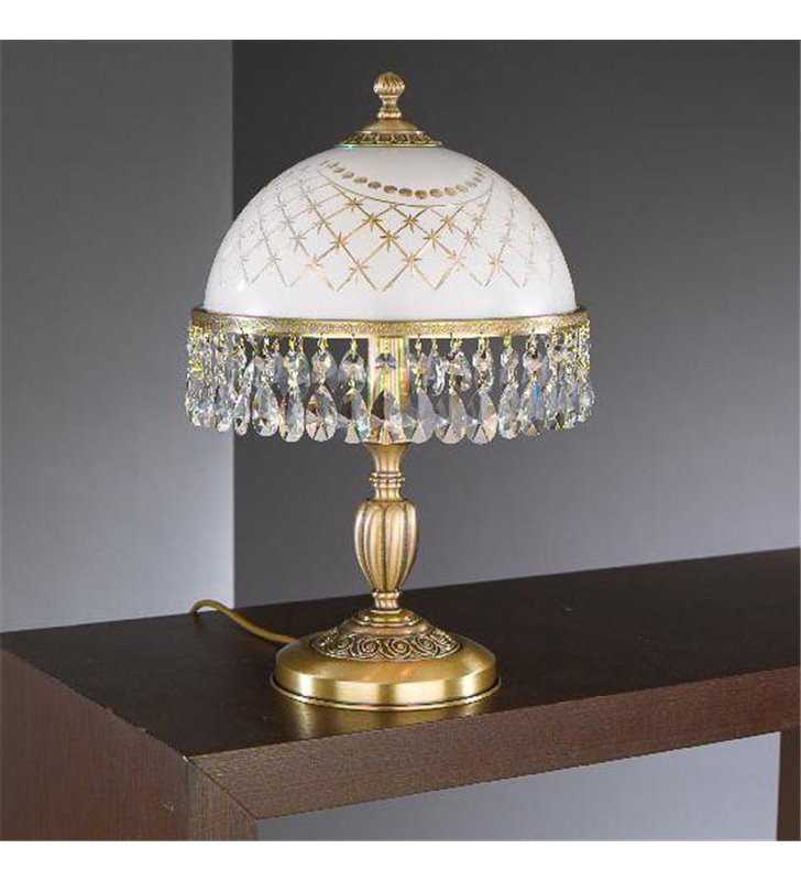 Ekskluzywna lampa gabinetowa stołowa Topaz Mosiądz z kryształkami - OD RĘKI