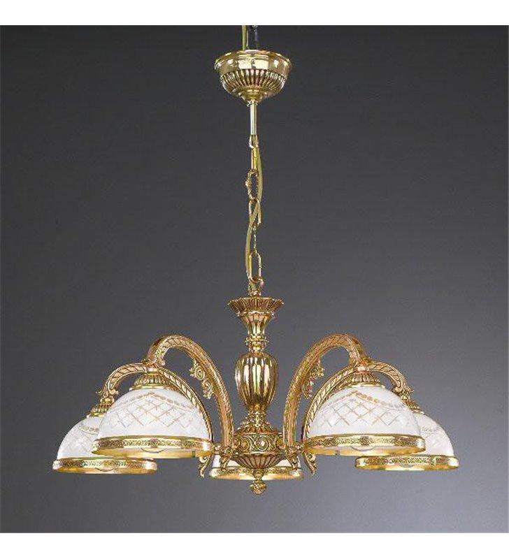 Złoty zdobiony żyrandol do stylowego salonu Topaz1