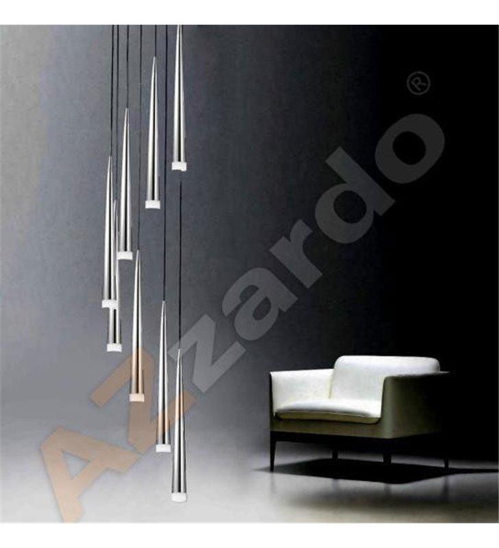 Lampa wisząca Stylo8 8 punktowa długa spirala z chromowanymi smukłymi kloszami nad stół schody do salonu jadalni sypialni