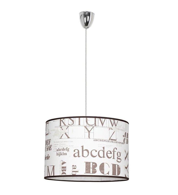 Lampa wisząca Patty ecru z napisami do pokoju młodzieżowego salonu sypialni kuchni przedpokoju