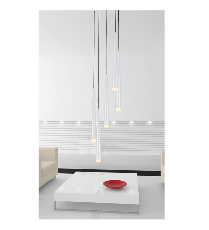 Lampa wisząca Stylo5 5 punktowa biała długa spirala klosze wąskie stożki do salonu sypialni nad stół schody- OD RĘKI