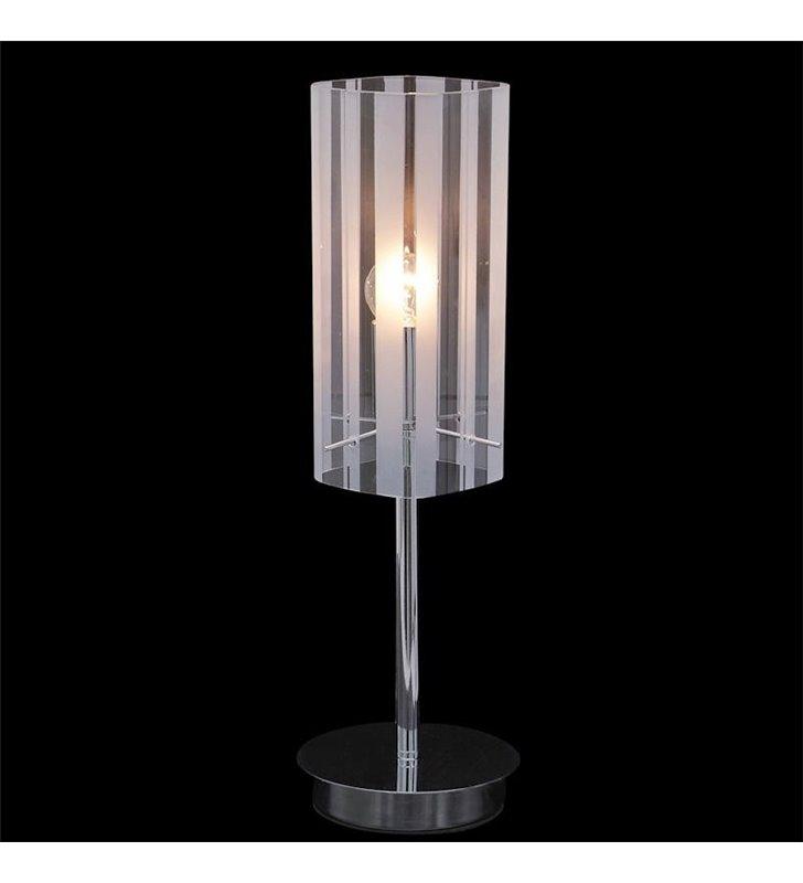 Lampa stołowa Elle chromowana podstawa klosz kwadratowy z satynowanymi pasami