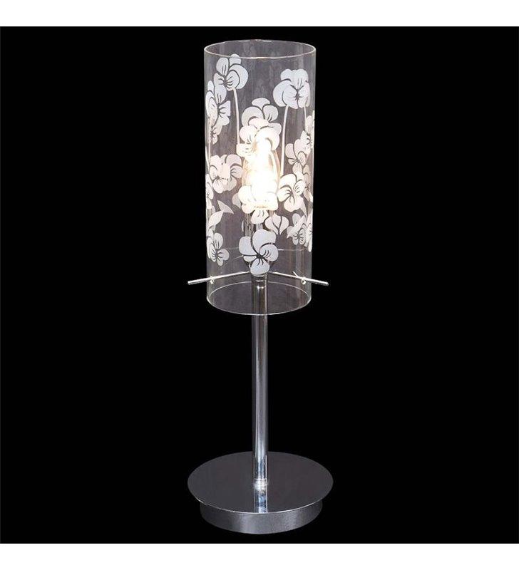 Lampa stołowa Fancy chromowana klosz szklany w kwiaty