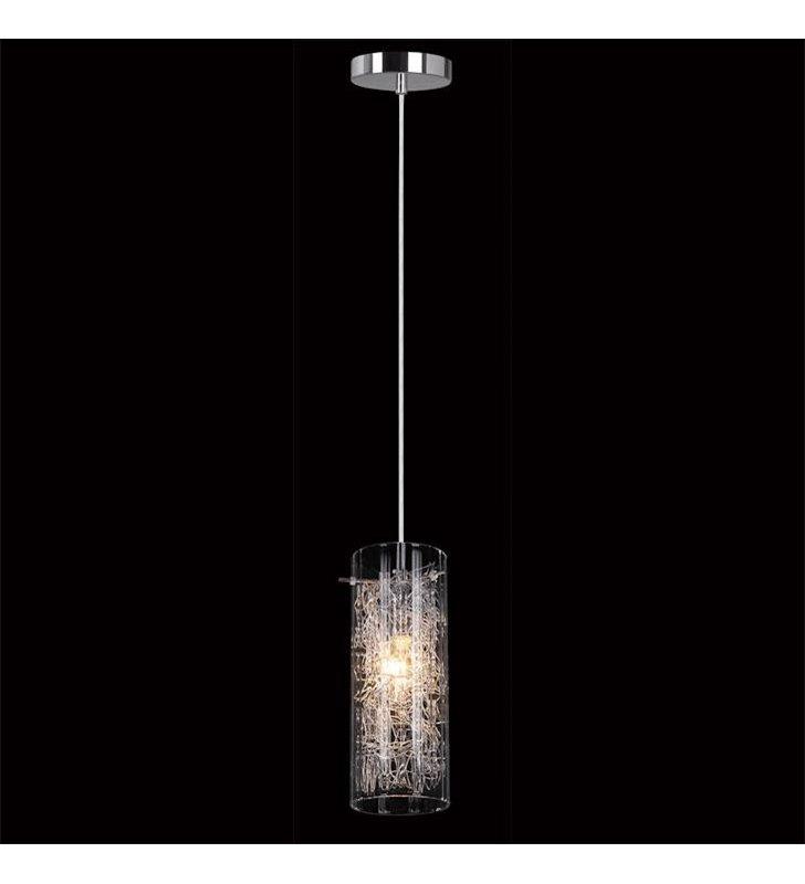 Lampa wisząca Ibiza pojedyncza klosz bezbarwny szklany z drucikami - OD RĘKI