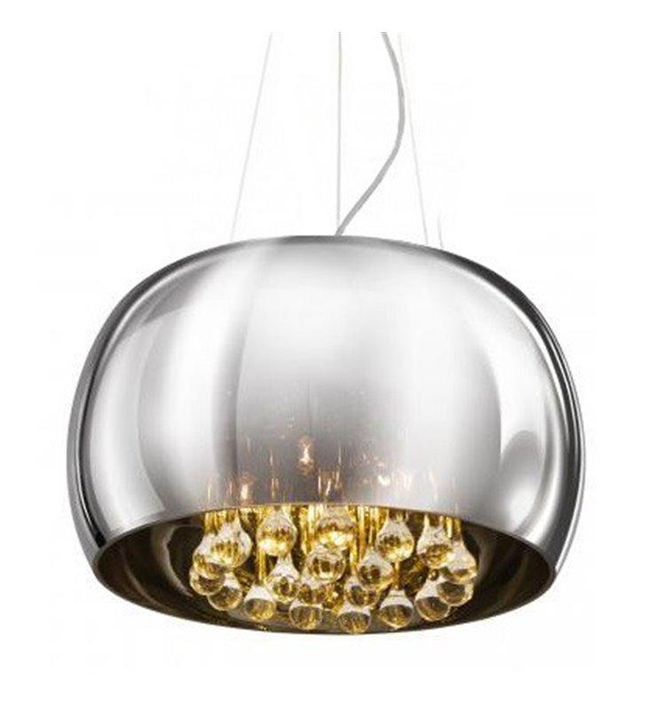 Lampa wisząca Burn szklany chromowany klosz wewnątrz bezbarwne kryształy