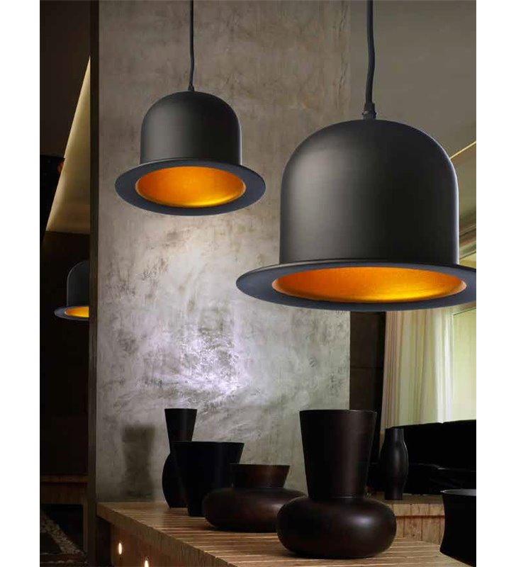 Lampa wisząca Capello czarny kapelusz designerska nowoczesna na przedpokój korytarz nad stół do salonu sypialni kuchni jadalni
