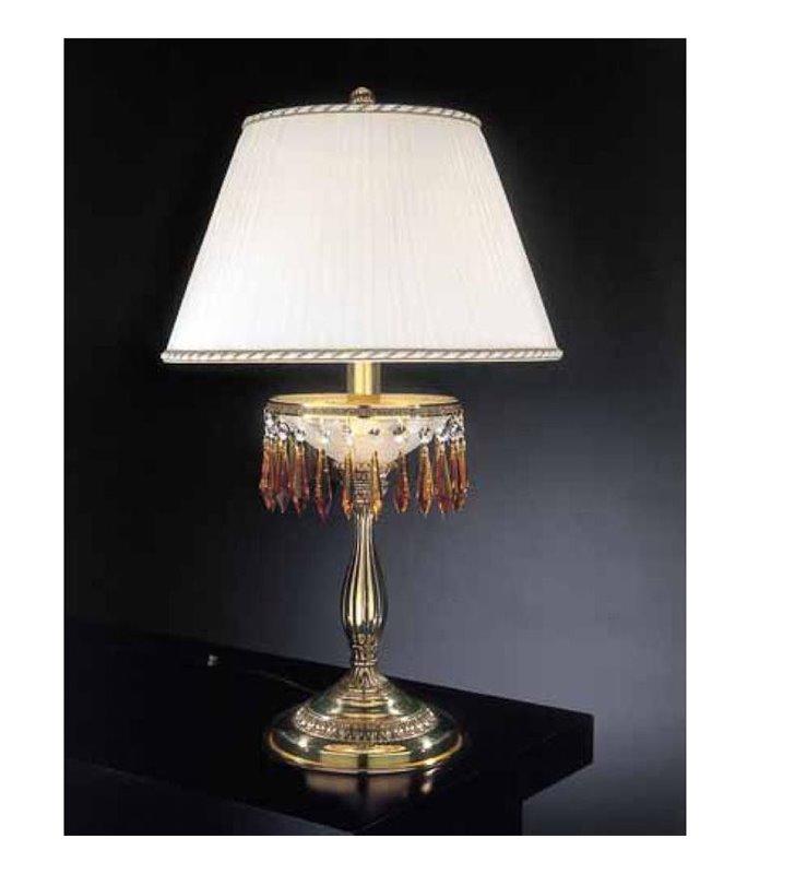 Złota lampa do sypialni Ferrara kryształki