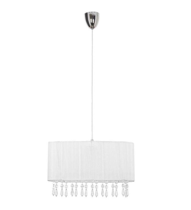 Lampa wisząca Corsica White podłużna biały materiałowy abażur z kryształkami - OD RĘKI