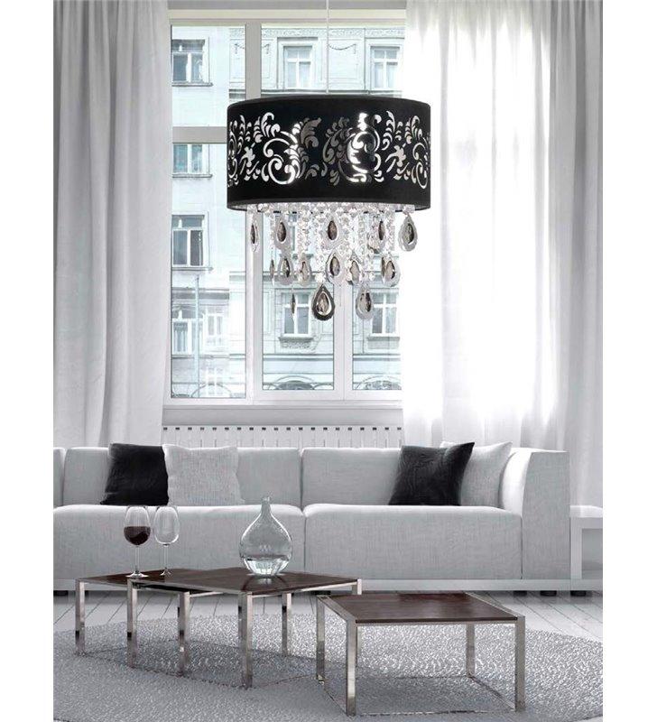 Lampa wisząca Sorrento abażur czarny ze wzorem do salonu jadalni nad stół