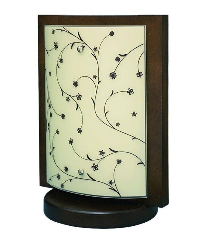 Lampa stołowa Quadro Contrastampo drewniana klosz szklany z motywem roślinnym