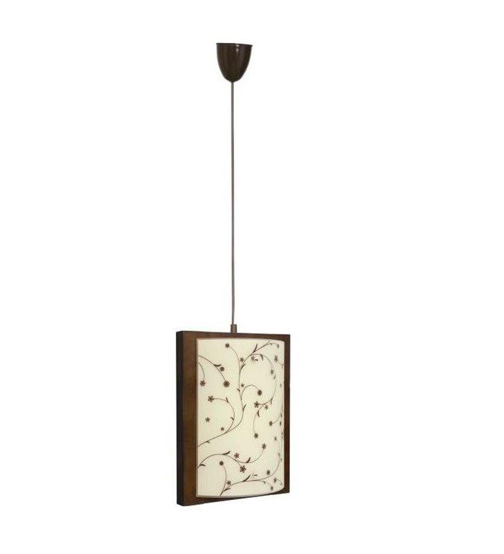 Lampa wisząca Quadro Contrastampo drewniana ze szklanym kloszem z motywem roślinnym