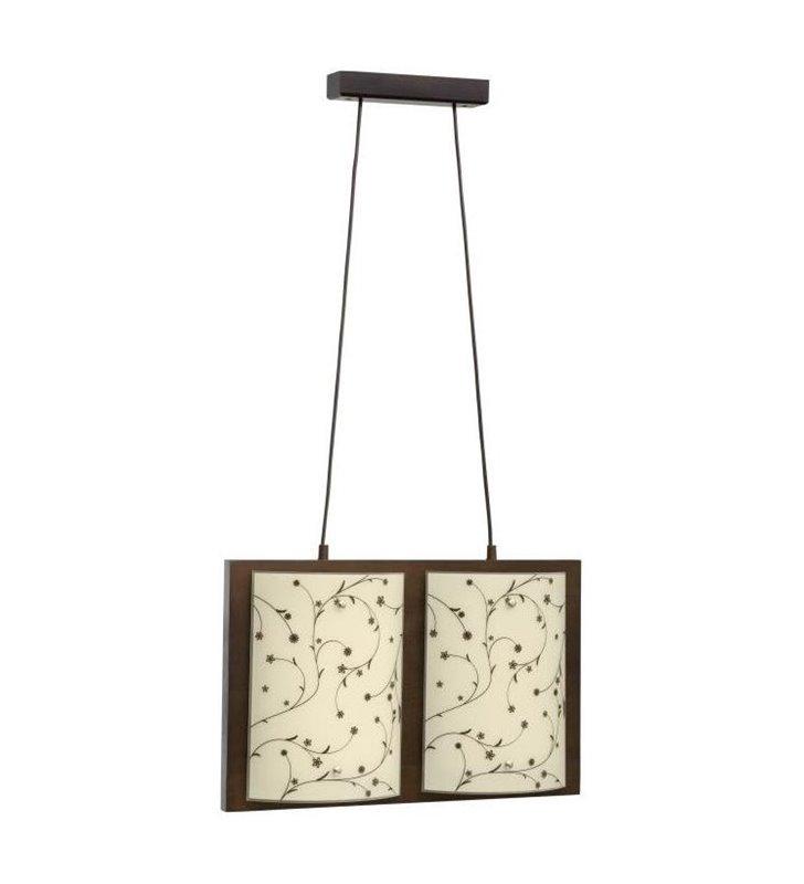 Lampa wisząca Quadro Contrastampo drewniana ze szklanymi kloszami z motywem roślinnym