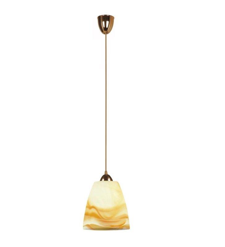 Lampa wisząca Single z bursztynowym kloszem alabastrowym - DOSTĘPNA OD RĘKI
