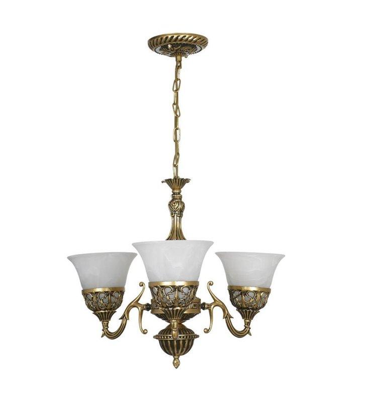 Żyrandol Korynt 3 ramienny ozdobny w stylu klasycznym kolor mosiądz