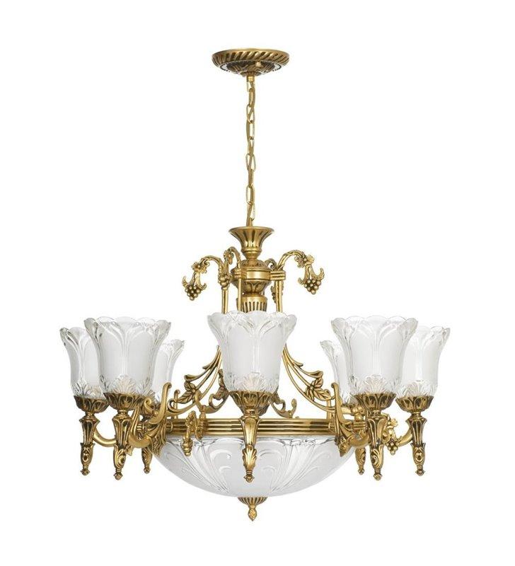 Żyrandol Pireus 8 ramienny z amplą ozdobny w stylu klasycznym kolor mosiądz