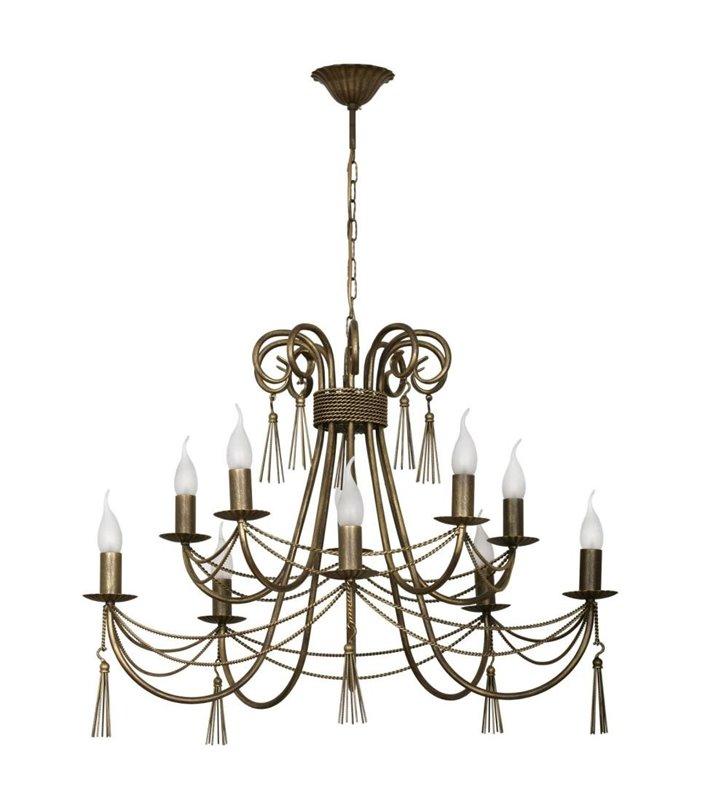 Żyrandol Twist brązowo złoty świecznikowy piętrowy ozdobny do salonu sypialni jadalni nad stół
