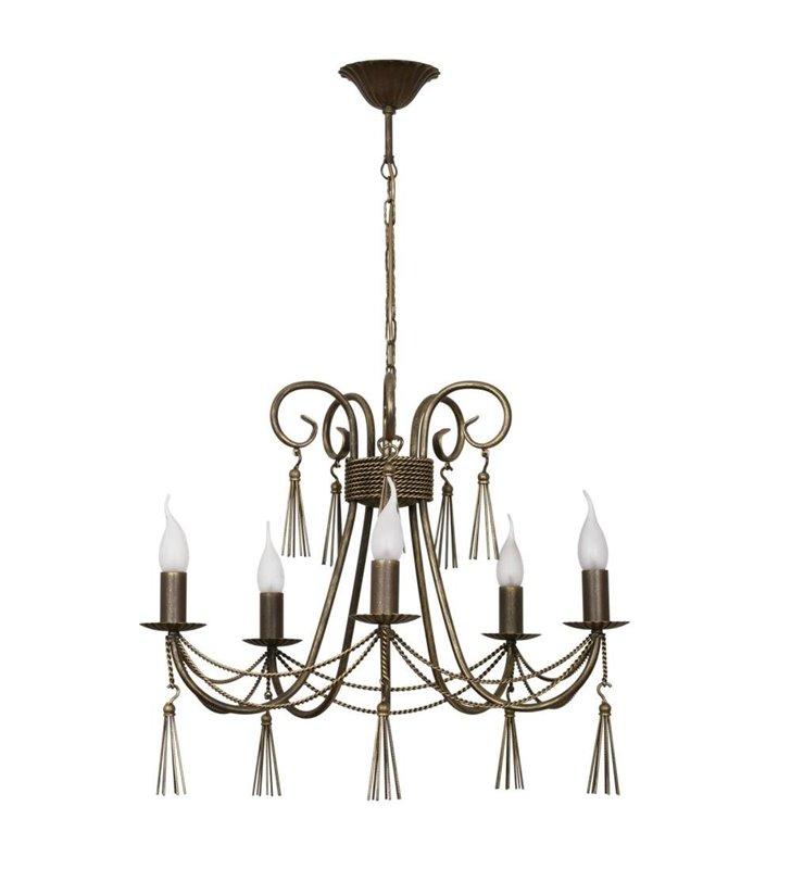 Żyrandol Twist 5 punktowy brązowo złoty świecznikowy ozdobny do salonu sypialni jadalni nad stół