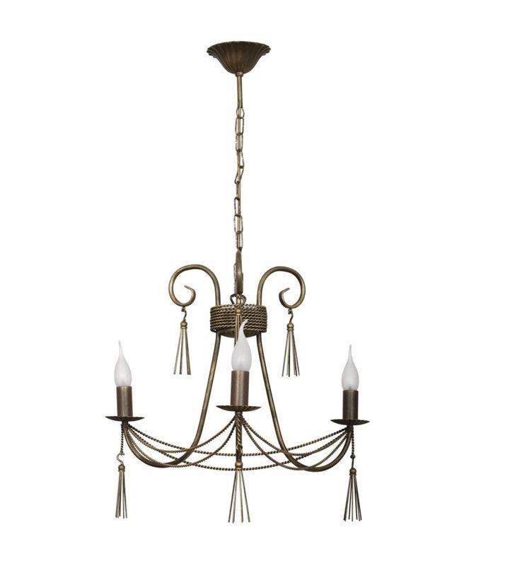 Żyrandol Twist 3 płomienny brązowo złoty świecznikowy ozdobny do sypialni salonu jadalni nad stół