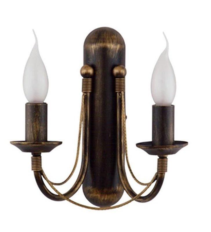 Kinkiet Ares podwójny brązzowo złoty świecznikowy