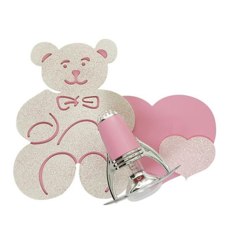 Kinkiet Honey różowy miś dla małej dziewczynki