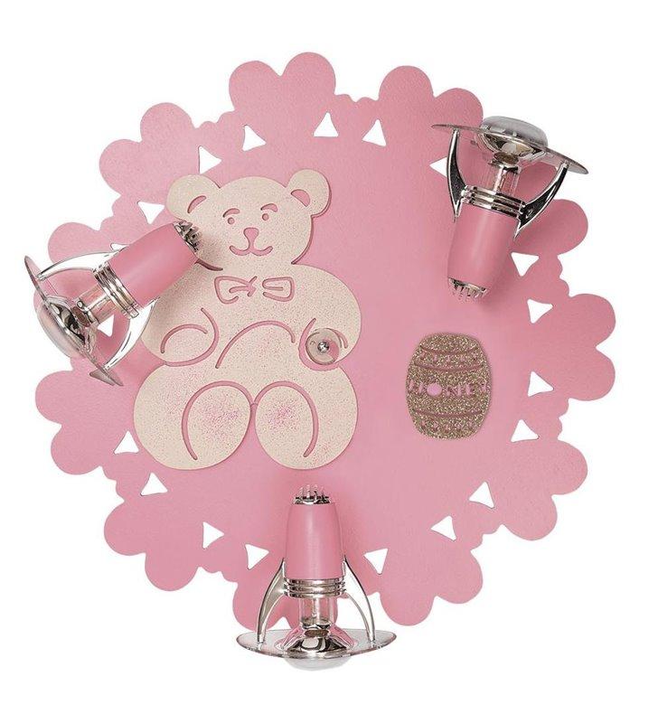 Różowa lampa ścienno sufitowa Honey potrójna z misiem do pokoju dziewczynki