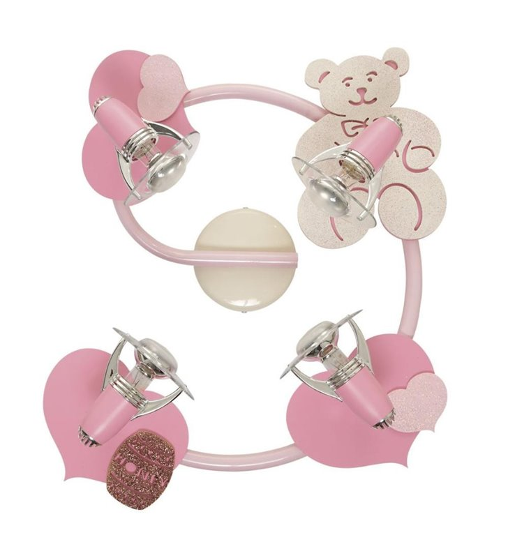 Lampa sufitowa Honey różowa spirala z misiem do pokoju dziewczynki