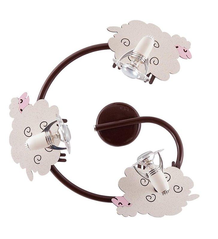 Lampa sufitowa Sheep 3 punktowa spirala z owieczkami do pokoju dziecka