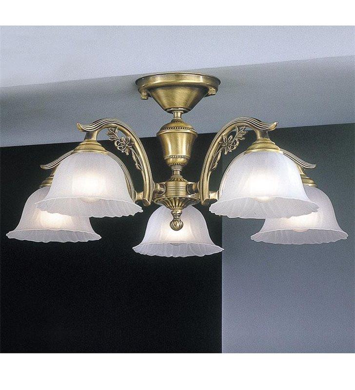 Niski żyrandol do salonu sypialni jadalni Florencja z mosiądzu szklane klosze styl klasyczny - OD RĘKI