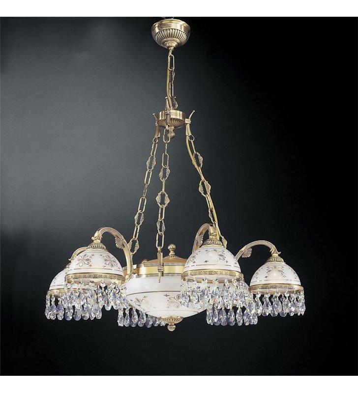 Żyrandol Nuoro włoski 6 ramienny z amplą z kryształami