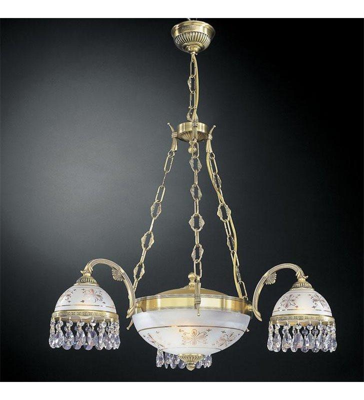 Żyrandol Nuoro włoski 3 ramienny z amplą z kryształami