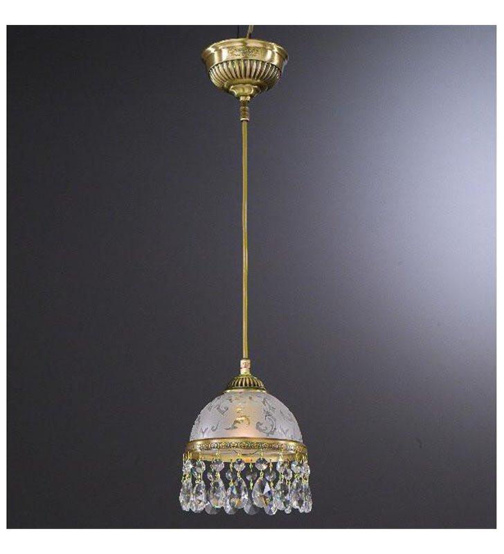 Lampa wisząca kryształowa Brugherio z mosiądzu