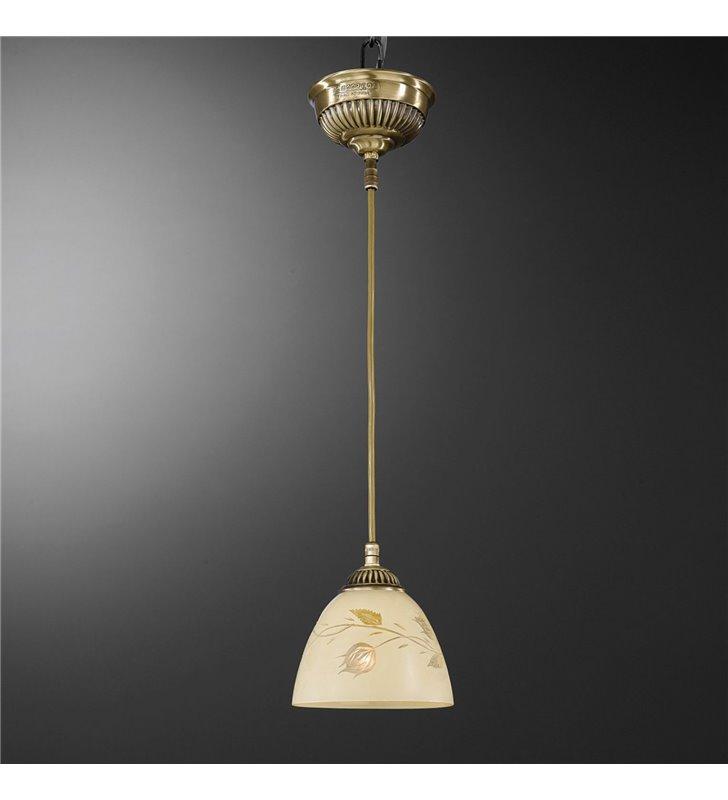 Lampa wisząca Bagheria mosiądz klosz szklany kremowy z dekorem do jadalni sypialni kuchni nad wyspę - OD RĘKI
