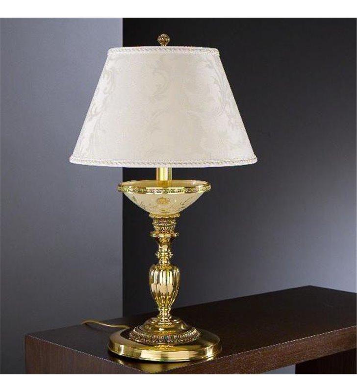 Duża lampa na komodę Boscoreale złota abażur