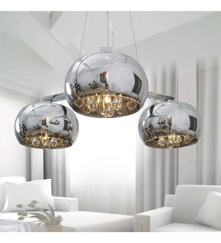Lampa wisząca Crystal 3 szklane klosze ozdobione od wewnątrz kryształami nad stół do kuchni jadalni do salonu sypialni