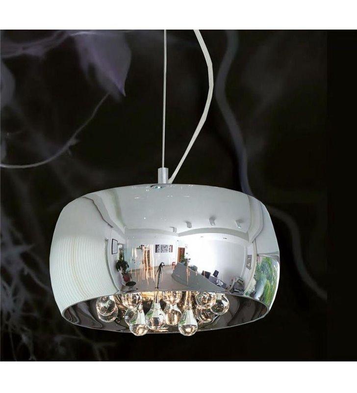 Lampa wisząca Crystal 40cm okrągły szklany klosz wewnątrz podłużne kryształy styl nowoczesny glamour - OD RĘKI
