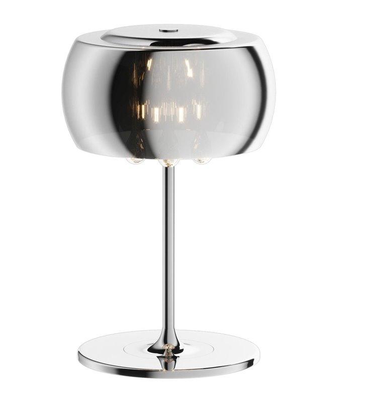Lampa stołowa Crystal chromowana podstawa klosz szklany okrągły wewnątrz eleganckie podłużne kryształy - OD RĘKI
