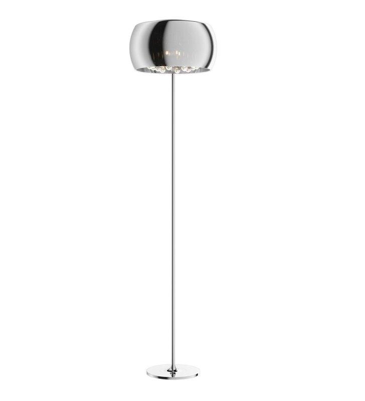 Lampa podłogowa Crystal szklany klosz od wewnątrz podłużne kryształy do salonu jadalni sypialni