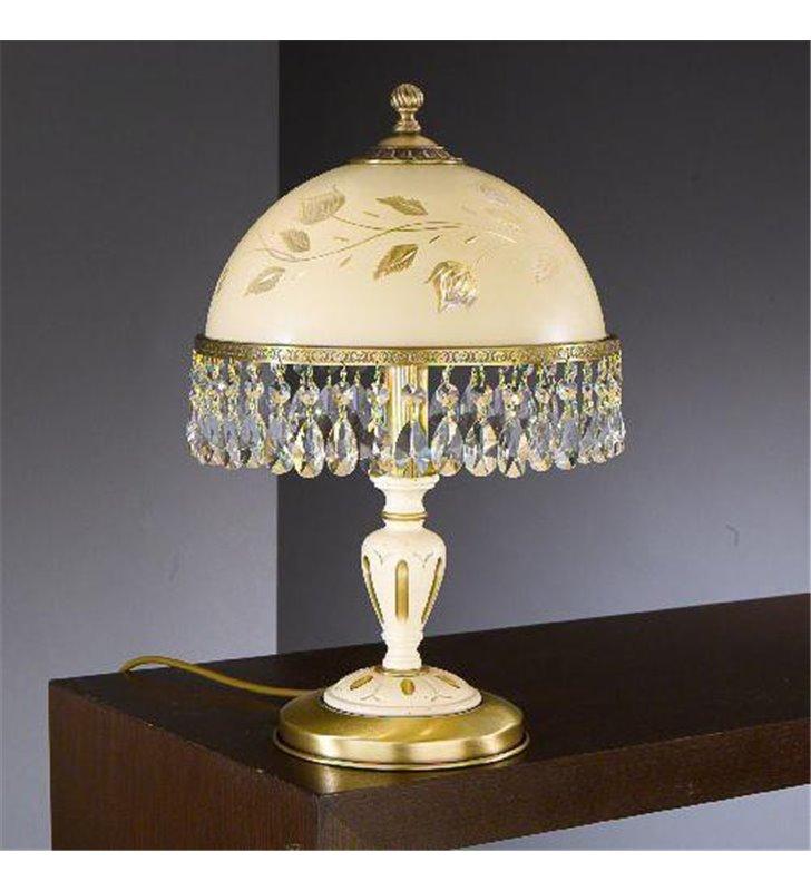 Lampa stołowa kryształowa Arsizio mosiądz drewno