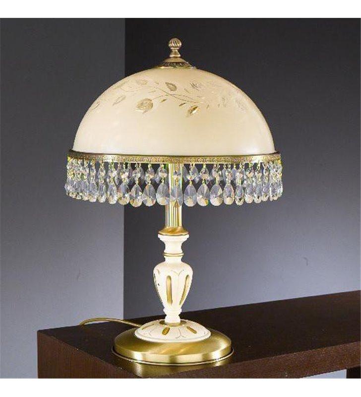 Lampa stołowa z drewnem Arsizio mosiądz