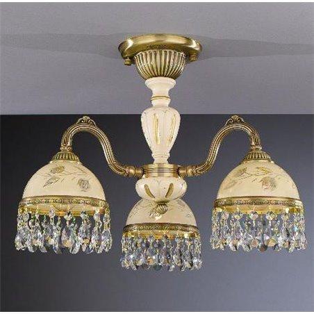 Włoski żyrandol z kryształami do niskiego pomieszczenia salonu Arsizio mosiądz drewno ręcznie malowane