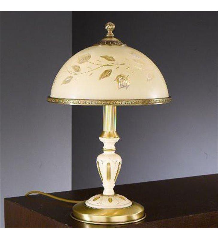 Lampa stojąca nocna Vercelli drewno mosiądz