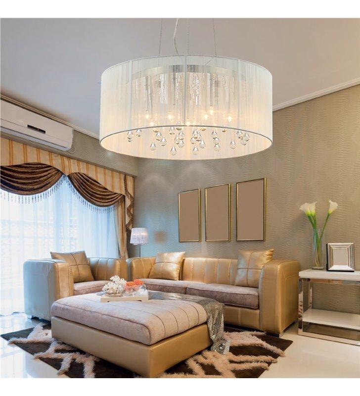 Lampa wisząca Artemida biała stylowa elegancka z kryształkami do salonu sypialni jadalni nad stół