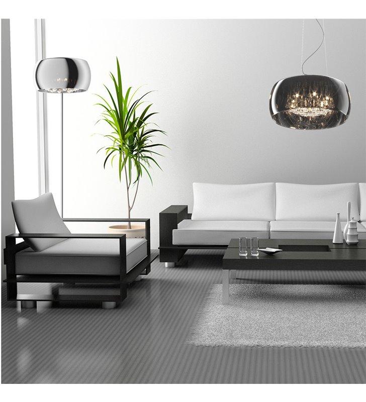 Elegancka lampa wisząca Crystal 50cm nowoczesna szklany klosz z kryształami styl glamour