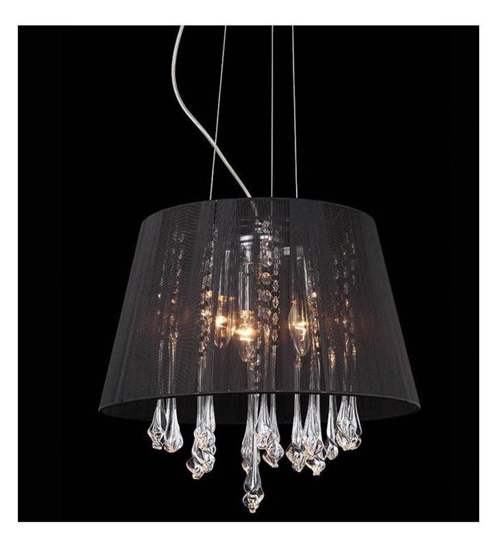 Lampa wisząca Isla czarna okrągła elegancka ze zwisającymi wewnątrz klosza kryształkami - DOSTĘPNA OD RĘKI