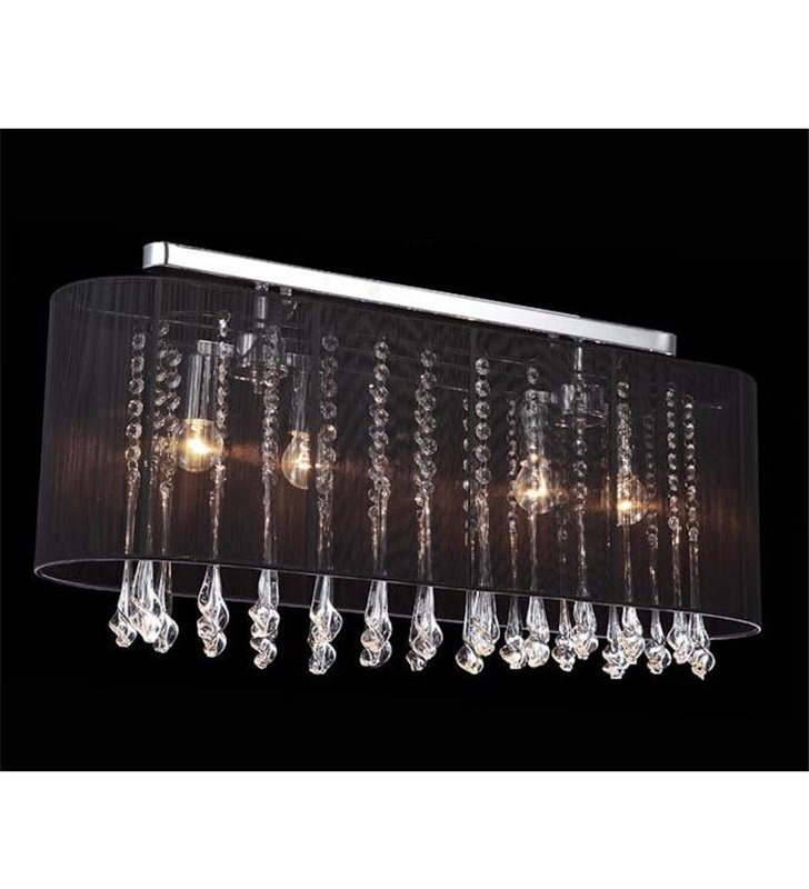 Lampa sufitowa Isla podłużna czarny abażur ozdobiony kryształami do salonu sypialni jadalni przedpokoju