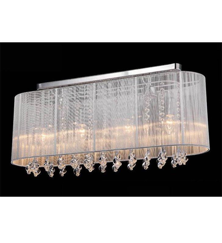 Podłużna biała lampa sufitowa z kryształami Isla