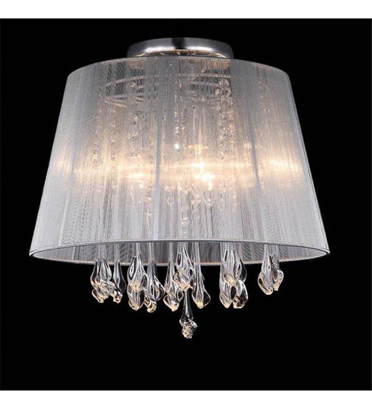 Lampa sufitowa Isla biały abażur z podłużnymi kryształami do salonu sypialni jadalni na przedpokój hol
