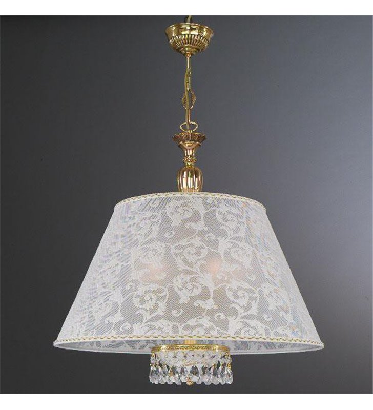 Włoska lampa wisząca Wenecja Złoto z materiałowym abażurem jak z koronki